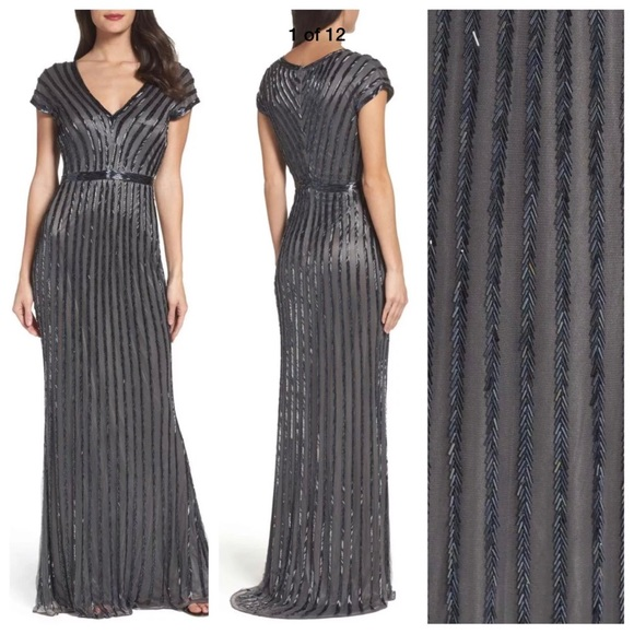 b385bec847 Mac Duggal Dresses | New Beaded Mesh Gown Vneck In Charcoal | Poshmark